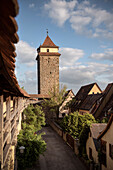 town wall at old town, Rothenburg ob der Tauber, romantic Franconia, Bavaria, Germany