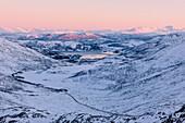 Rosa Himmel bei Sonnenuntergang auf der verschneiten Landschaft und gefrorenem Meer um Fjordbotn, Lysnes, Senja, Troms, Norwegen, Skandinavien, Europa