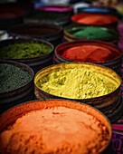 Multi-colored Fabric Natural Dyes In Pisac Market, Cuzco, Peru