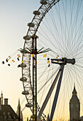 'Millennium Wheel, Big Ben and Starflyer; London, England'