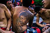 'Traditional Kecak ritual, also called Fire Dance; Uluwatu, Bali Island, Indonesia'