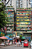 'Art neighbourhood surrounding Art University, particular buildings painted in different colours; Chongqing, China'