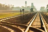 'Morning light on railroad tracks near Groton; South Dakota, United States of America'