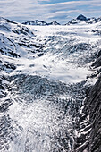'Aerial view of Whiteout Glacier in the Chugach Mountains near Anchorage, Chugach State Park; Alaska, United States of America'