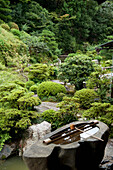 'Rock Water Feature In A Garden; Kyoto, Japan'