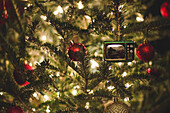 Christmas Tree Detail with Retro Television Ornament