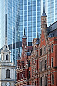 Architectural contrasts, Bishopsgate, City of London, London, England