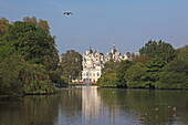 St James Park, view at chimneys and spires of  Horse Guard Parade, Whitehall, City of Westminster, London, England