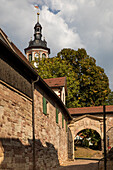 Alley to the Schlossberg with a view of the tower of Wilhelmsburg Castle, Schmalkalden, Thuringia, Germany, Europe