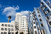 Televison tower and Neuer Zollhof (Architect: F.O. Gehry), Medienhafen, Duesseldorf, North Rhine-Westphalia, Germany