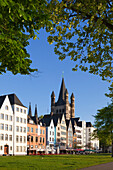 Facades of the Old town at the Rhine river banks, Gross-St-Martin church, Cologne, North Rhine-Westphalia, Germany
