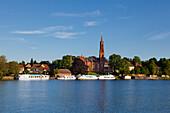 View over the lake to Malchow monastery, Mueritz-Elde-Wasserstrasse, Mecklenburgische Seenplatte, Mecklenburg-West Pomerania, Germany