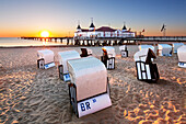 Beach chairs at the pier, Ahlbeck, Usedom,  Baltic Sea, Mecklenburg-West Pomerania, Germany