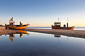 Fish cutter at the beach, Ahlbeck, Usedom,  Baltic Sea, Mecklenburg-West Pomerania, Germany