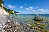 Beach at the chalk rocks, Jasmund National Park, Ruegen,  Baltic Sea, Mecklenburg-West Pomerania, Germany
