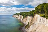 View to the chalk rocks, Jasmund National Park, Ruegen, Baltic Sea, Mecklenburg-West Pomerania, Germany