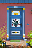 Painted front door of a house, Wieck am Darss, Baltic Sea, Mecklenburg-West Pomerania, Germany