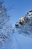 """Bornstein rock, rock formation """"Bruchhauser Steine"""", near Olsberg, Rothaarsteig hiking trail, Rothaargebirge, Sauerland region, North Rhine-Westphalia, Germany"""