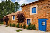 old blue door and window, Marias de Rechivaldo, near Astorga, Camino Frances, Way of St. James, Camino de Santiago, pilgrims way, UNESCO World Heritage, European Cultural Route, province of Leon, Old Castile, Castile-Leon, Castilla y Leon, Northern Spain,