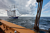 Sailing with traditional sailing boats on the Baltic sea, Mecklenburg Vorpommern, Germany