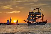 Sunset in Warnemuende to the Hanse Sail Rostock, Warnemuende, Mecklenburg Vorpommern, Germany