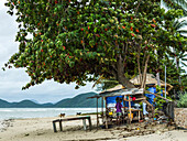 'A man stands in his shanty home on the beach along the Gulf of Thailand; Ko Samui, Chang Wat Surat Thani, Thailand'