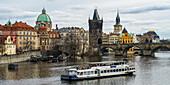 'A tour boat on Vltava River; Prague, Czech Republic'