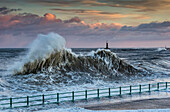 Rising sea during winter storms off the North East coast of England, Sunderland, Tyne and Wear, England