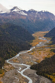 A small river flowing in a valley in the Kenai Mountains, Alaska, United States of America