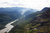 A river running through a valley in the Kenai Mountains, Kachemak Bay State Park, Alaska, United States of America