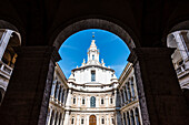 The inner courtyard of the baroque church Sant'Ivo alla Sapienza, Rome, Latium, Italy