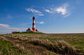 Westerhever lighthouse, dyke, Schleswig Holstein, Germany