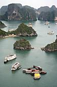 sea, mountains, boat, Halong Bay, Vietnam