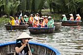 Tourists, Boattrip, Bambooboats, Mangroves, Hoi An, Vietnam