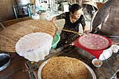 cooking woman, vietnamese food, ricepaper, mekongdelta, Vietnam
