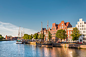 View over river Trave towards old town, Luebeck, Baltic coast, Schleswig-Holstein, Germany
