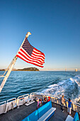American flag on a ferry near San Francisco, California, USA