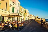 Restaurant on the ocean promenade in the coastal town of Alghero, Sardinia, Mediterranean, Italy, Europe
