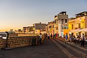Ocean promenade in the coastal town of Alghero after sunset, Sardinia, Italy, Mediterranean, Europe