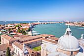 Church of San Giorgio Maggiore, roof and dome, with view of the island of Giudecca, Venice, UNESCO World Heritage Site, Veneto, Italy, Europe
