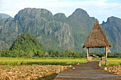 Reisfelder mit atemberaubender Bergkulisse, Laos, Indochina, Südostasien, Asien