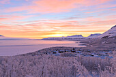 Sunrise illuminates Bjorkliden houses and camping. Bjorkliden, Norbottens Ian, Sweden, Scandinavia, Europe