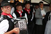 Accordion folk band, Old Domancy craft festival, Haute-Savoie, France, Europe