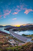 Loch a' Chairn Bhain, Kylesku, Kylesku Bridge, a landmark on the North Coast 500 Tourist Route, Sutherland, Highlands, Scotland, United Kingdom, Europe