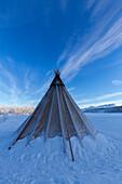 Traditionelles Sami-Zelt, Abisko, Abisko-Nationalpark, Norbottens Ian, Schweden, Europa