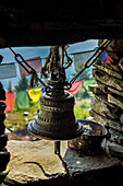 Bell,incense and prayer flags to make an offer,Rasuwa district, Bagmati region,Nepal,Asia