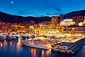 Montecarlo by night, Monaco, Principality of Monaco, Cote d'Azur, South of France, Western Europe, Europe