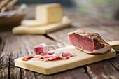 a piece of bacon, (speck), Bolzano province, South Tyrol, Trentino Alto Adige, Italy