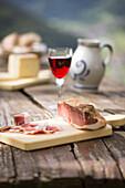 still life of a piece of bacon, (speck), Bolzano province, South Tyrol, Trentino Alto Adige, Italy
