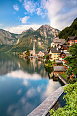 The austrian village of Hallstatt and the lake, Upper Austria, region of Salzkammergut, Austria